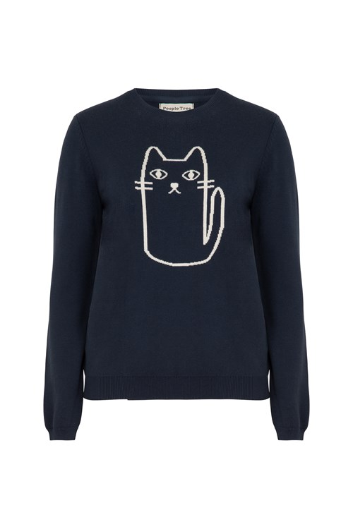 Cat Jumper in Navy
