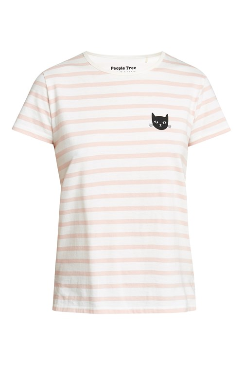 Cat Stripe Tee in Pink