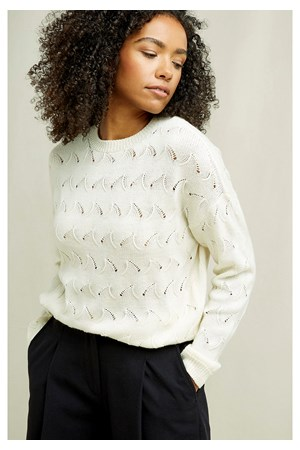 Clyde Lace Knit Jumper In Cream