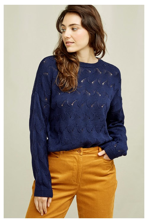 Clyde Lace Knit Jumper In Navy