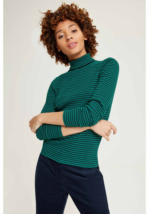 Daya Roll Neck Top Green and black from People Tree