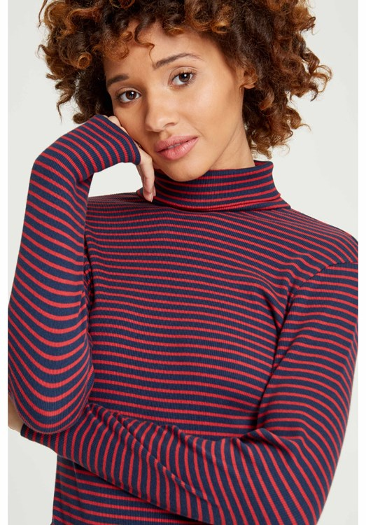 Daya Roll Neck Top Navy and Red from People Tree