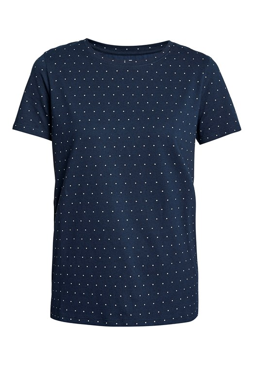 Dot Print Tee in Navy