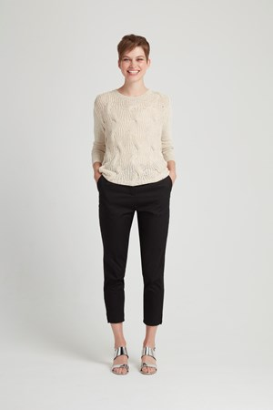 Elba Cable Sweater   in Cream
