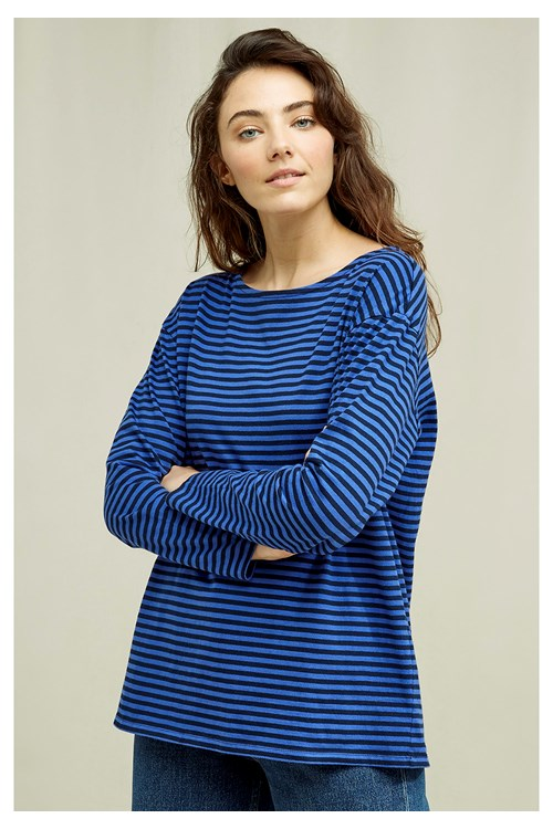 Emma Stripe Top In Blue