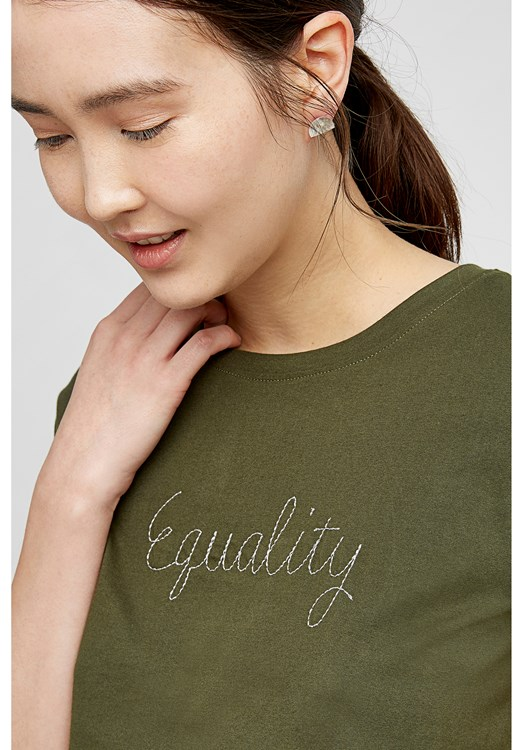 Equality Embroidered T-Shirt in Khaki