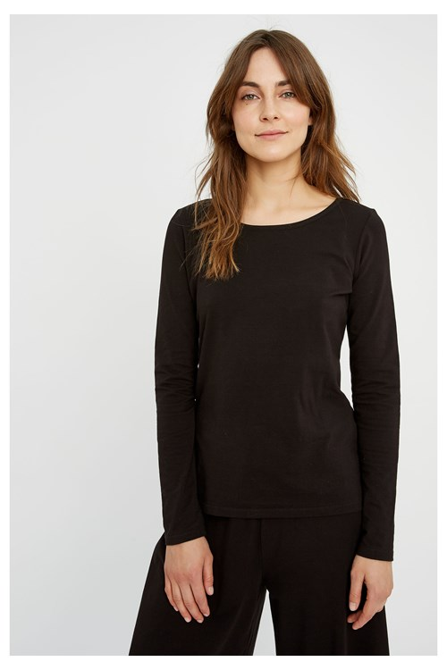 Fallon Long Sleeve Top in Black from People Tree