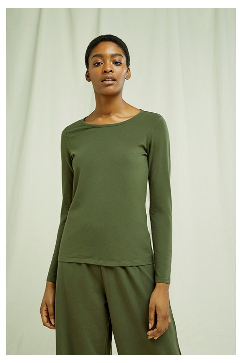 Fallon Long Sleeve Top in Khaki