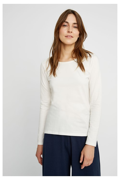 Fallon Long Sleeve Top in White from People Tree