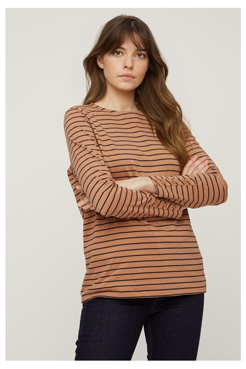 Felicity Stripe Top in Coffee