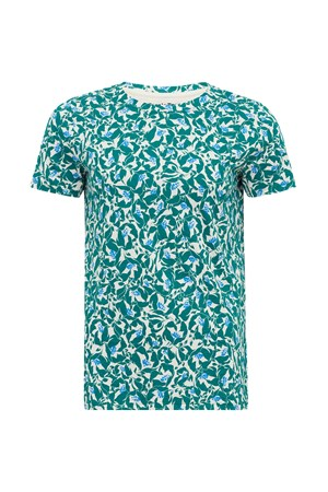 Floral Print Tee in Green