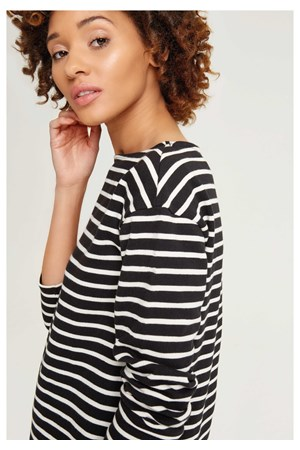 Gia Stripe Top Black
