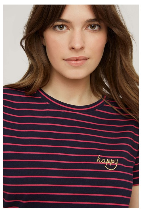 Happy Embroidered Stripe Tee from People Tree