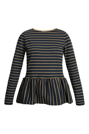 Ishana Stripe top  in Olive Green and Navy