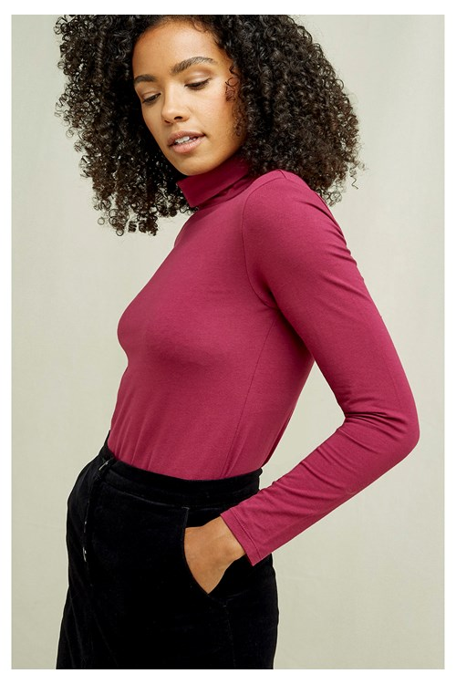 Laila Roll Neck Top In Berry