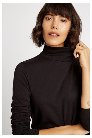 Laila Roll Neck Top in Black