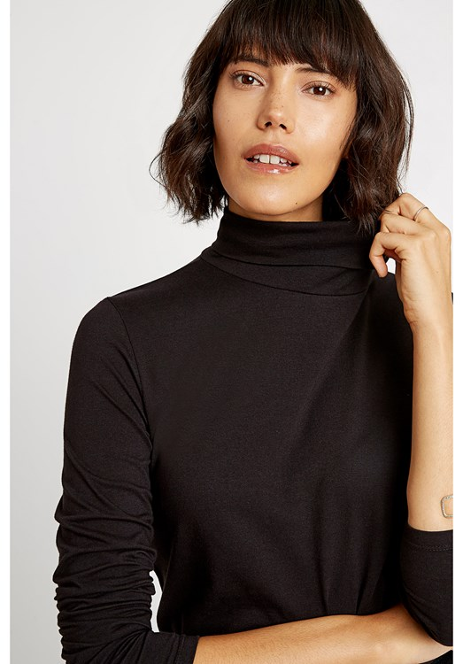 Laila Roll Neck Top in Black from People Tree