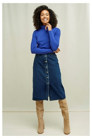 Laila Roll Neck Top In Royal Blue