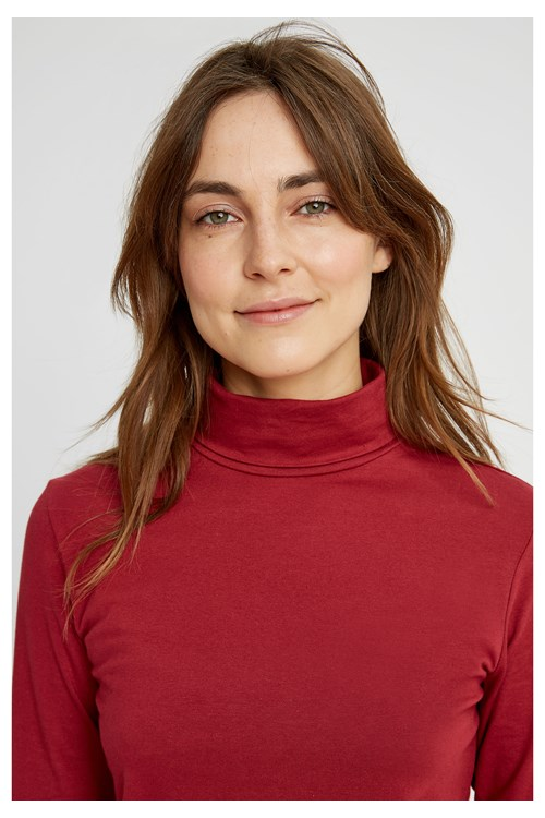 Laila Roll Neck Top Red from People Tree