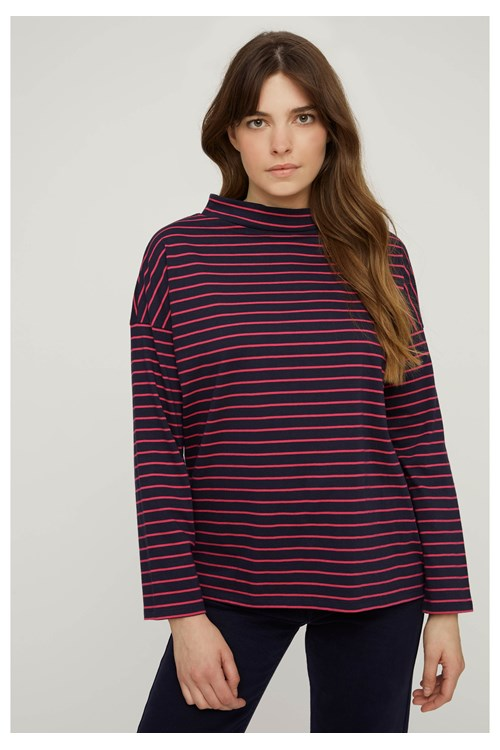 Leah Stripe Top in Blue from People Tree