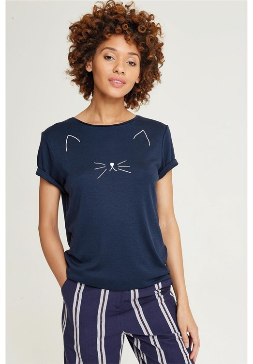 Meow Tee in Blue