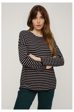 Nerissa Stripe Top in Black