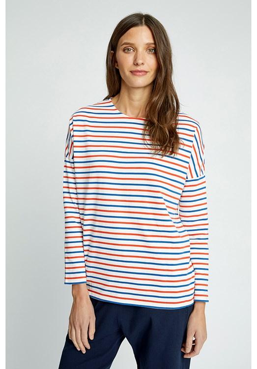 Nerissa Stripe Top in Red from People Tree