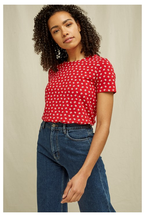 Paisley Print Tee In Red from People Tree
