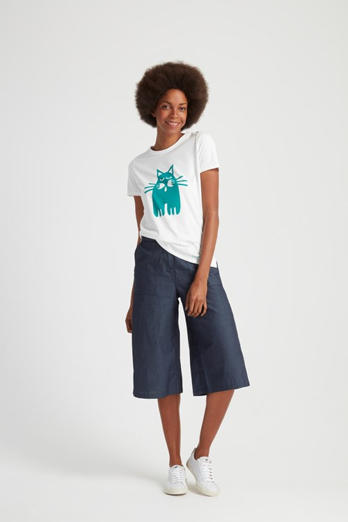 Peter Jensen Cat print Tee in Green
