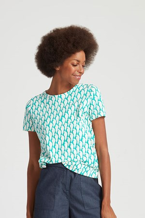 Peter Jensen Parrot Print Tee in Green