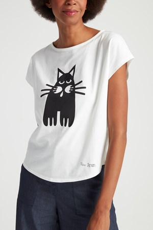 Peter Jensen Single Cat Tee in Eco White