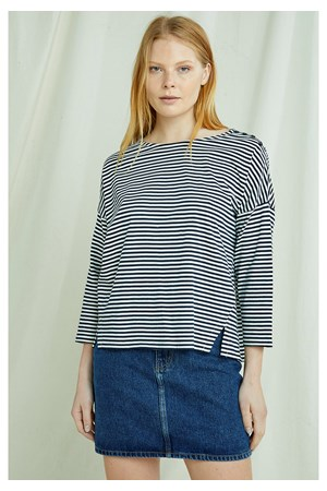 Roma Stripe Top In Navy