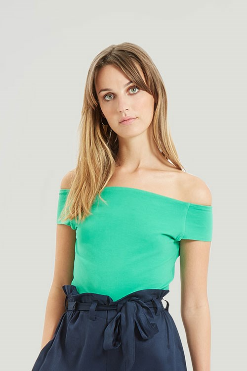 Sabina Off Shoulder Top in Green from People Tree