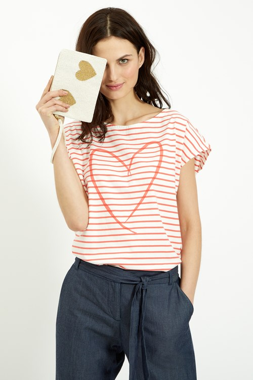Stripe Heart Tee in Coral