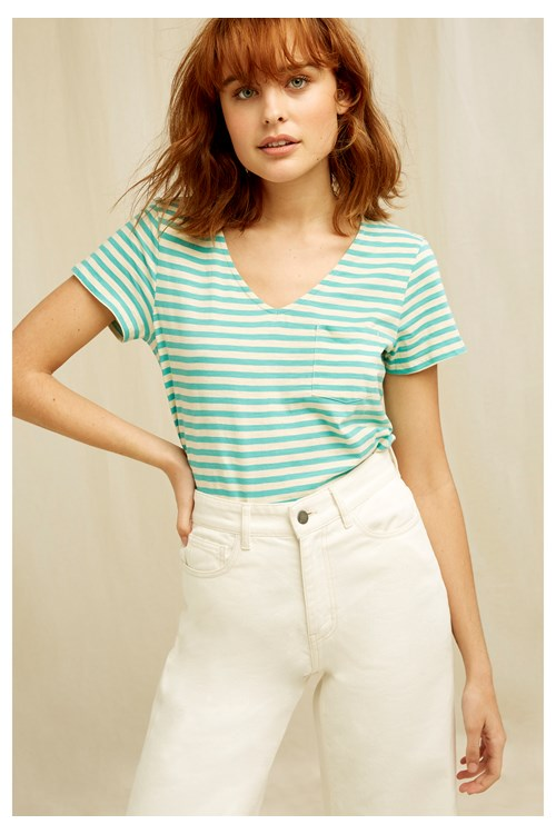 Thora Stripe Top In Green from People Tree