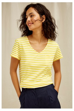 Thora Stripe Top In Yellow