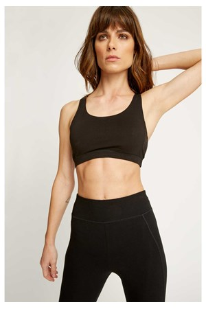 Yoga Cross Back Top in Black