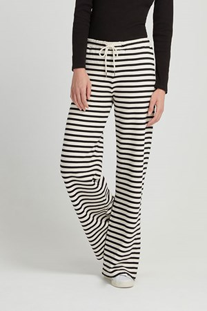 Alina Stripe Trousers in Black