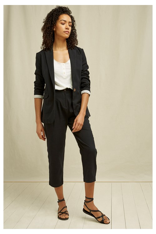 Anwen Cropped Trousers In Black from People Tree