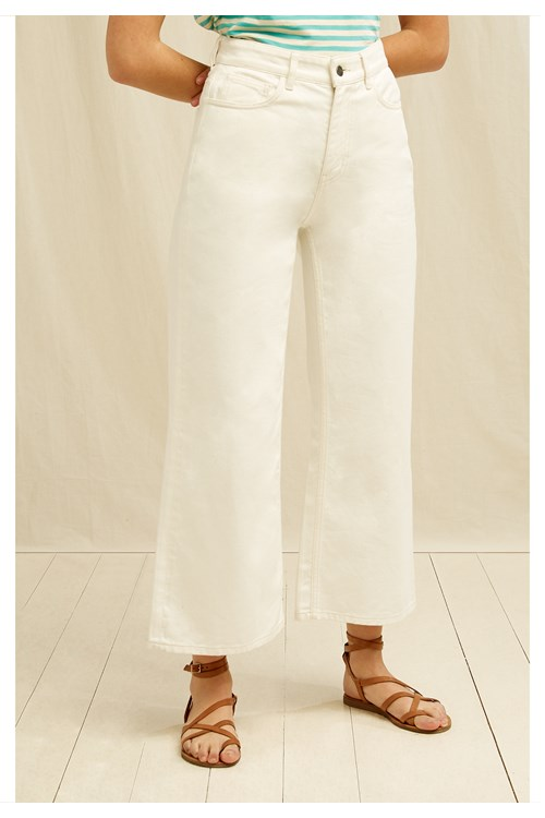 Ariel Wide Leg Jean In Cream