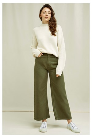 Ariel Wide Leg Trousers In Khaki
