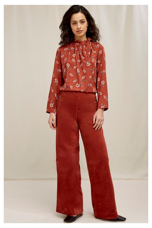 Caren Velvet Trousers In Cinnamon