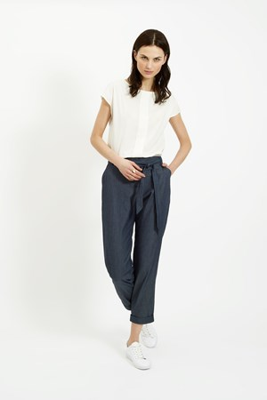 Carly Chambray Trousers in Blue