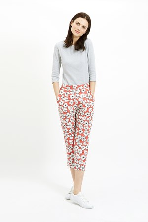 Frances Printed Trousers in Coral