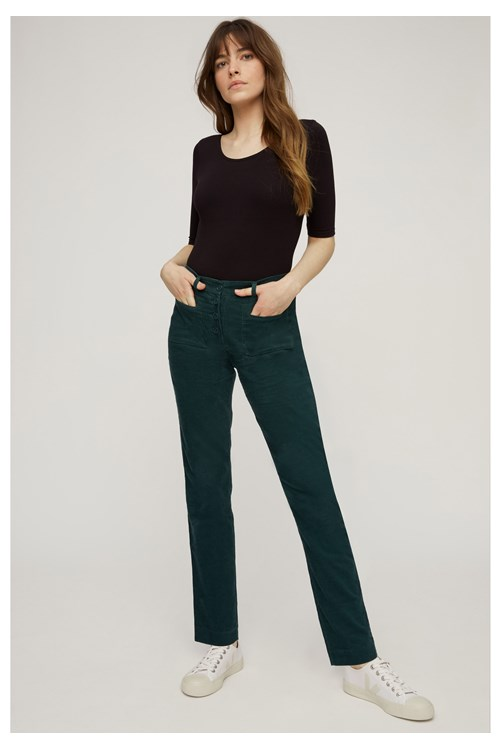 Jemima Corduroy Slim Trousers in Green