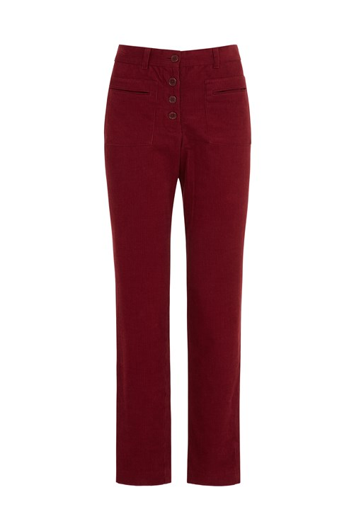Jemima Corduroy Slim Trousers In Red