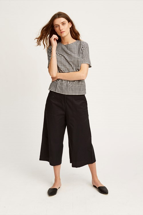 Lucinda Cropped Wide Leg Trousers in Black from People Tree