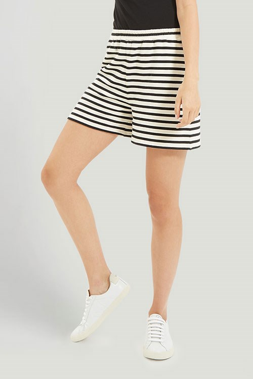 Maia Stripe Shorts  in Black