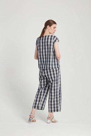 Mixed Check Trousers in Blue