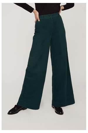 Noelle Corduroy Wide Trousers in Green